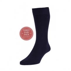 HJ7116/3 Executive™ Ladies Plain Cotton Socks Navy (3 Pack)