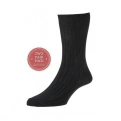 HJ111/2 Executive™ Mens Ribbed Cotton Socks Black (2 Pack)