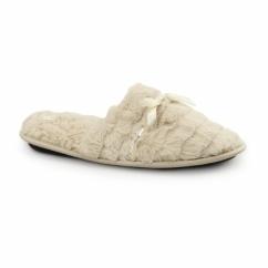COCO Ladies Faux Fur Sequin Mule Slippers Beige