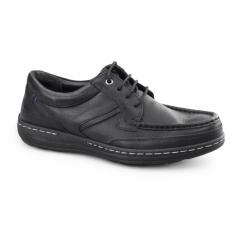 VINES VICTORY Mens Leather Moccasin Lace-Up Shoes Black
