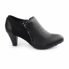 CLAIRE Ladies Faux Leather Zip Wide Fit Boots Black