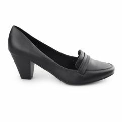 SELMA Ladies Wide Fit Heeled Loafer Shoes Black