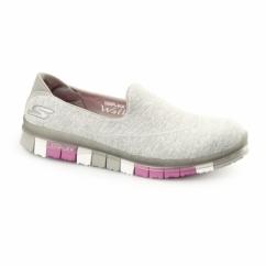 GO FLEX WALK Ladies Slip-On Trainers Grey/Pink