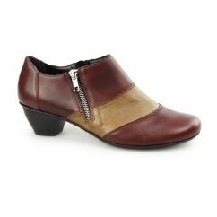 47674-35 Ladies Leather Slip On Heel Shoes Red Combi