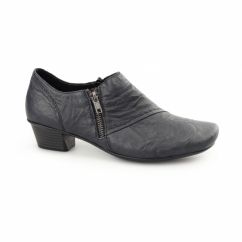 53851-15 Ladies Leather Heeled Shoes Navy