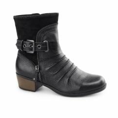 EDMUND Ladies Side Zip & Buckle Up Ankle Boots Black