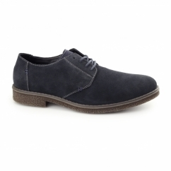 13810-14 Mens Suede Wide Fit Lace-Up Derby Shoes Navy