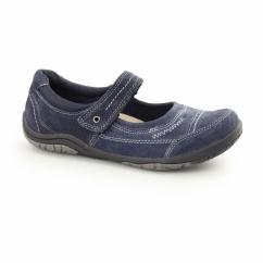 LAWTON Ladies Nubuck Leather Mary Jane Shoes Navy