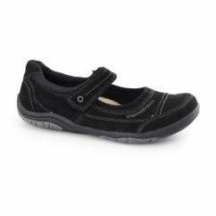 LAWTON Ladies Nubuck Leather Mary Jane Shoes Black