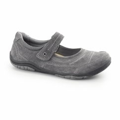 LAWTON Ladies Nubuck Leather Mary Jane Shoes Iron Grey