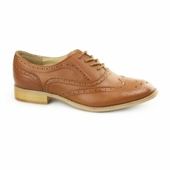 EVA Ladies Flat Brogue Shoes Burnish Tan