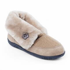EDEN Ladies Faux Fur Extra Wide Fit Boot Slippers Camel