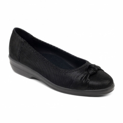 FIONA Ladies Leather Extra Wide Pumps Black Reptile