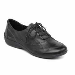 GLADE Ladies Leather Extra Wide Lace Up Shoes Black