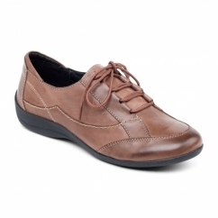 GLADE Ladies Leather Extra Wide Lace Up Shoes Brown