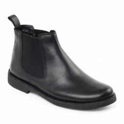 JERRY Mens Leather Wide Dealer Boots Black