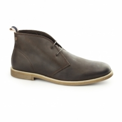 ALPHA Mens Waxy Leather Chukka Boots Java