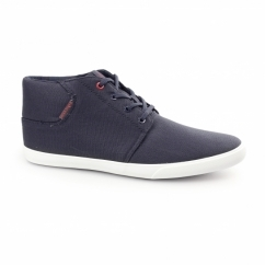 VERTIGO Mens Waxed Canvas Mid-Top Trainers Navy Blazer