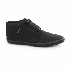 VERTIGO Mens Canvas Mid-Top Trainers Triple Black