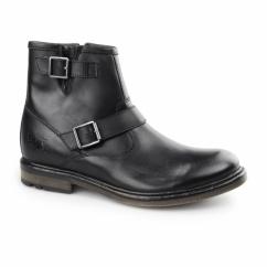 ZINC WAXY Mens Leather Zip Biker Boots Black