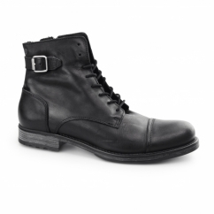 SITI Mens Leather Biker Boots Anthracite