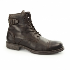 SITI Mens Leather Biker Boots Stone
