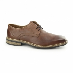 B1224-24 Mens Leather Lace Up Derby Shoes Brown