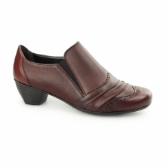 41730-35 Ladies Leather Brogue Court Shoes Red