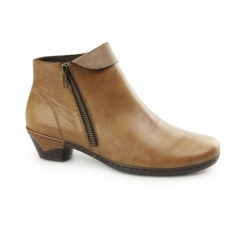 76961-24 Ladies Leather Warm Lined Heeled Boots Brown
