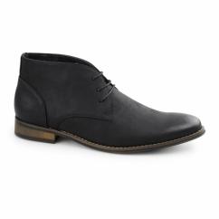 TWAIN Mens Faux Leather Chukka Boots Black