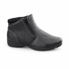 ANNIE Ladies Warm Lined Dual Zip Ankle Boots Black