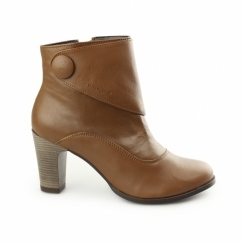 WILLOW BROOK Ladies Leather Zip Ankle Boots Tan