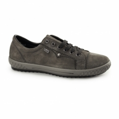 M6104-45 Ladies Suede Lace Up Trainers Grey