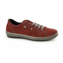 M6104-36 TEX Ladies Suede Lace Up Trainers Wine