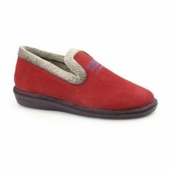 305 (AFELPADO) Ladies Suede Full Slipper Red