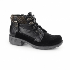 MOBILE Ladies Suede/Leather Lace Zip Ankle Boots Black