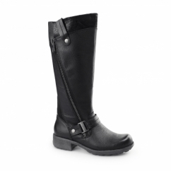 SUFFOLK Ladies Leather/Textile Zip Tall Boots Black
