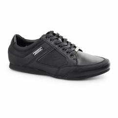 PHOENIX Mens Leather Lace Up Trainer Shoes Black