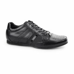 ASTI Mens Leather Panel Lace Up Trainer Shoes Black
