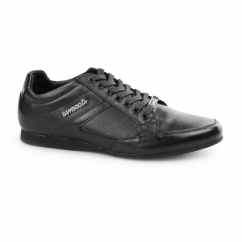 TRENTO Mens Shine Leather Lace Up Trainer Shoes Black