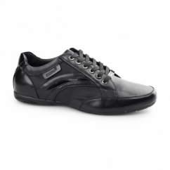 FIRENZE Mens Leather/Webbing Lace Up Trainer Shoes Black