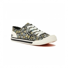 JAZZIN Ladies Lace Up Plimsoll Trainers Black/Floral