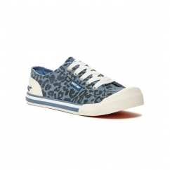 JAZZIN Ladies Lace Up Plimsoll Trainers Blue/Leopard