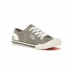 JAZZIN Ladies Lace Up Plimsoll Trainers Grey Scales