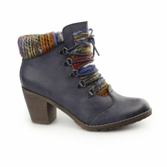 95323-14 Ladies Heeled Ankle Boots Blue