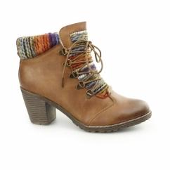 95323-22 Ladies Heeled Ankle Boots Brown