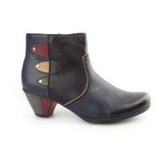 Y7273-14 Ladies Wool Lined Heel Ankle Boots Blue