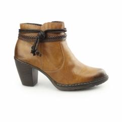 55298-24 Ladies Heeled Ankle Boots Brown