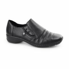 58353-00 Ladies Leather Slip On Shoes Black