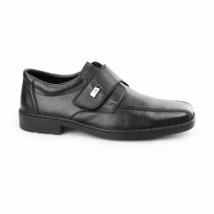 18853-00 Mens Leather Wide Touch Fasten Shoes Black